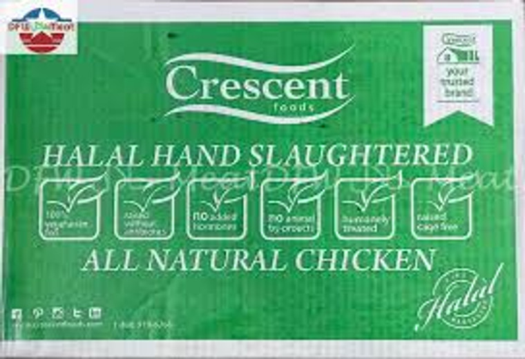 Crescent Whole Chicken Hand Slaughter ABF Case - 40 Lbs Plus