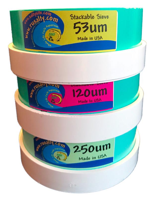 3 pc set sieves stackable plankton collecotors 53 um 120 um 250 um sifter aquarium aquaculture sieve