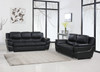 85'' X 34'' X 35'' Modern Black Leather Sofa And Loveseat