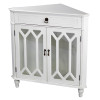 """32"""" Antique White Wood Clear Glass Corner Cabinet with a Drawer and 2 Doors"""