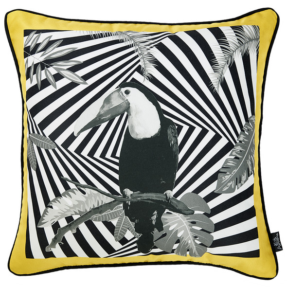 "18""x 18"" Tropical Parrot Illusion Decorative Throw Pillow Cover"