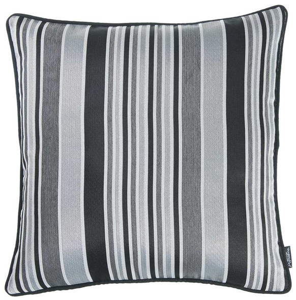 "17""x 17"" Dark Jacquard Stripe Decorative Throw Pillow Cover"