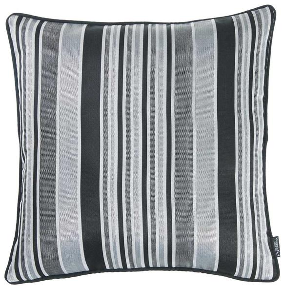 "17""x 17"" Dark Jacquard Stripe Decorative Throw Pillow Cover"