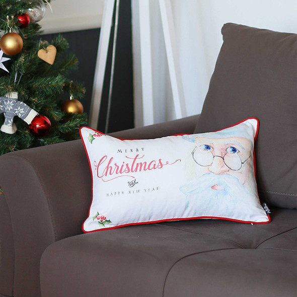 "12""x20"" Christmas Printed Decorative Throw Pillow Cover"