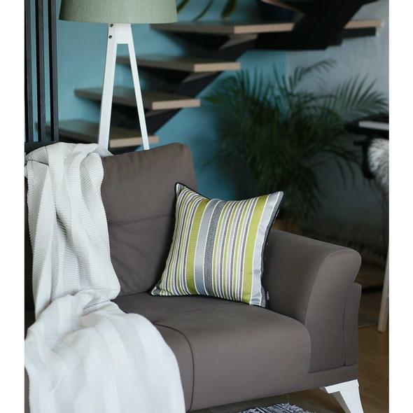 "17""x 17"" Jacquard Stripe Light Decorative Throw Pillow Cover"