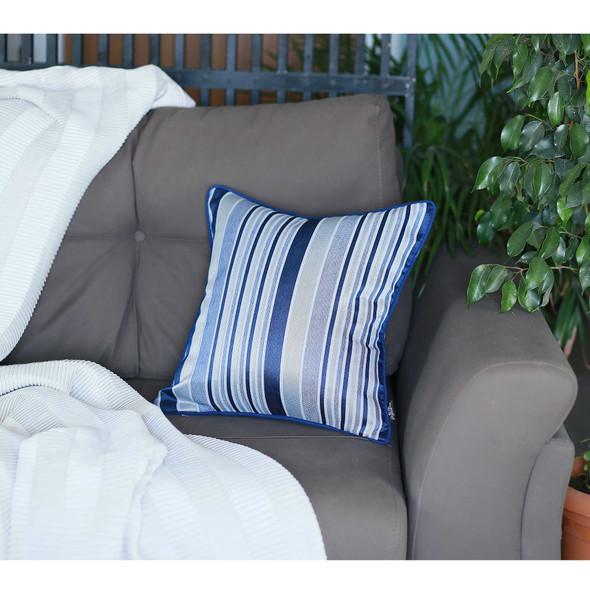 "17""x 17"" Blue Jacquard Stripe Decorative Throw Pillow Cover"
