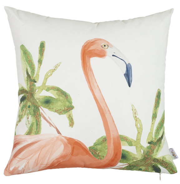 "18""x 18"" Tropical Square Flamingo Decorative Throw Pillow Cover"
