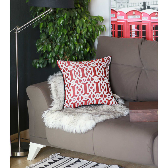 "17""x 17"" Red Jacquard Geo Decorative Throw Pillow Cover"
