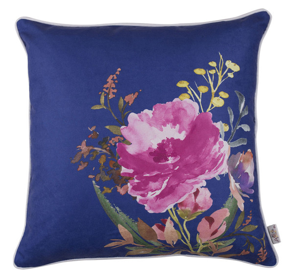 "18""x 18"" Blue Flower Square Style Decorative Throw Pillow Cover"