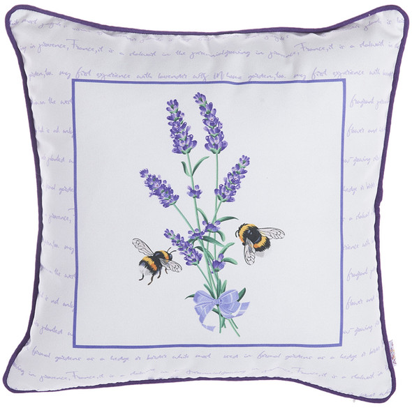 """18""""x 18"""" Spring Square Bees Decorative Throw Pillow Cover"""