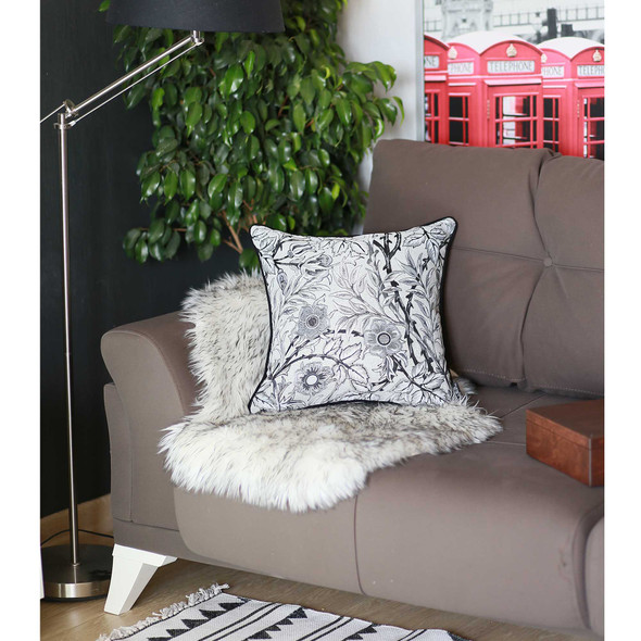 "17""x 17"" Grey Jacquard Artistic Leaf Decorative Throw Pillow Cover"