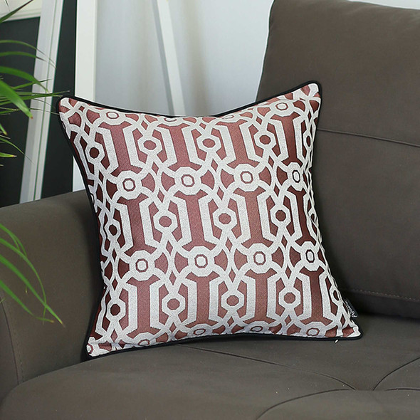 "17""x 17"" Red Jacquard Geo Decorative Throw Pillow Cover - 355630"