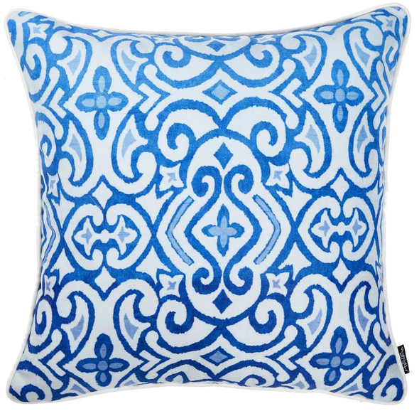 "18""x 18"" Blue Sky Scroll Decorative Throw Pillow Cover Printed"