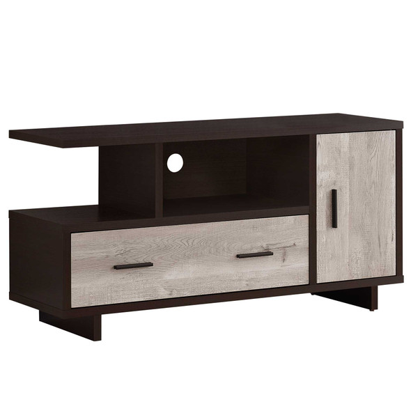 """15.5"""" x 47.25"""" x 23.75"""" Cappuccino/Taupe Reclaimed Wood Look - Tv Stand"""