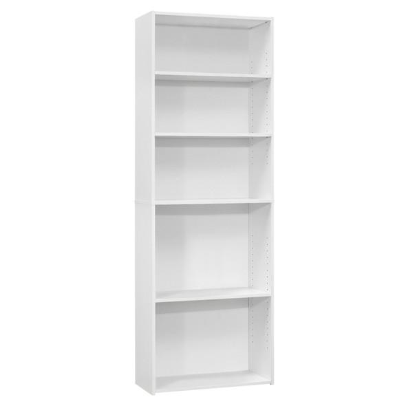 """11.75"""" x 24.75"""" x 71.25"""" White, 5 Shelves - Bookcase"""