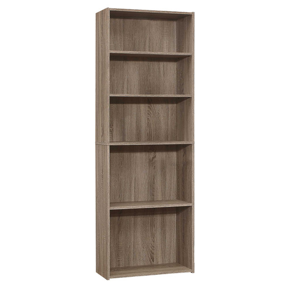 "11.75"" x 24.75"" x 71.25"" Dark Taupe, 5 Shelves - Bookcase"