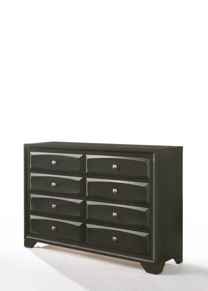 "58"" X 17"" X 40"" Antique Gray Rubber Wood Dresser"