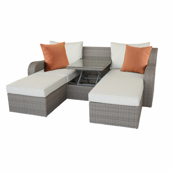 """82"""" X 36"""" X 30"""" 3Pc Beige Fabric And Gray Wicker Patio Sectional And Ottoman Set"""