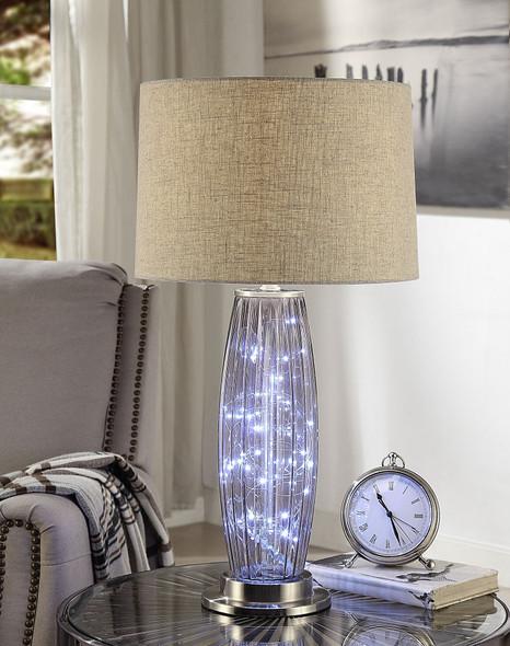 "15"" X 15"" X 28"" Sand Nickel Metal Table Lamp"