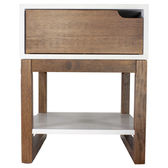 "26"" X 16"" X 12"" White amp; Mocha Solid Wood One Drawer Side Table w/ Shelf"