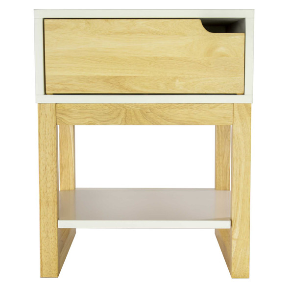 """26"""" X 16"""" X 12"""" White amp; Natural Solid Wood One Drawer Side Table w/ Shelf"""
