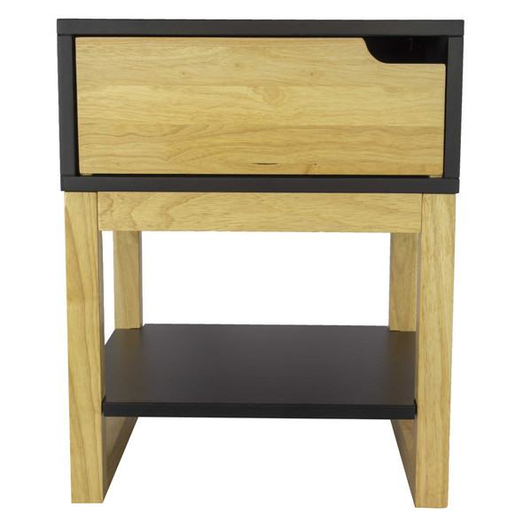 """26"""" X 16"""" X 12"""" Black amp; Natural Solid Wood One Drawer Side Table w/ Shelf"""