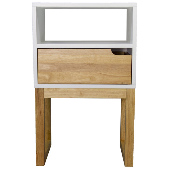 """26"""" X 16"""" X 12"""" White amp; Natural Solid Wood One Drawer Open Display Side Table"""