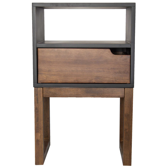 """26"""" X 16"""" X 12"""" Black amp; Mocha Solid Wood One Drawer Open Display Side Table"""