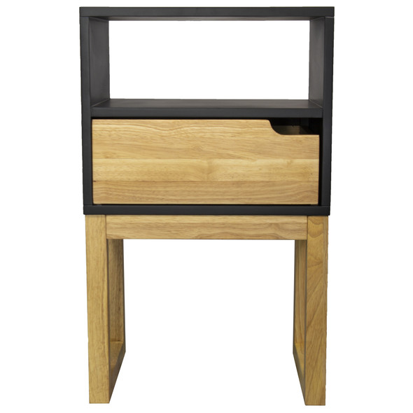 """26"""" X 16"""" X 12"""" Black amp; Natural Solid Wood One Drawer Open Display Side Table"""
