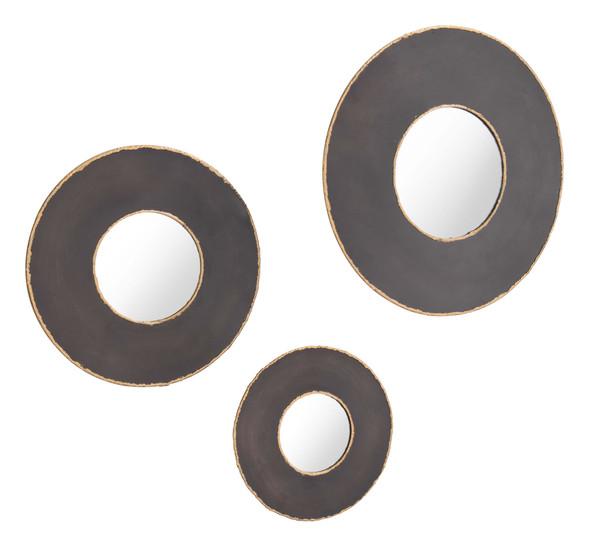 """19.7"""" x 1.2"""" x 19.7"""" Black, Steel, Mirror amp; MDF, Round Mirrors - Set of 3"""