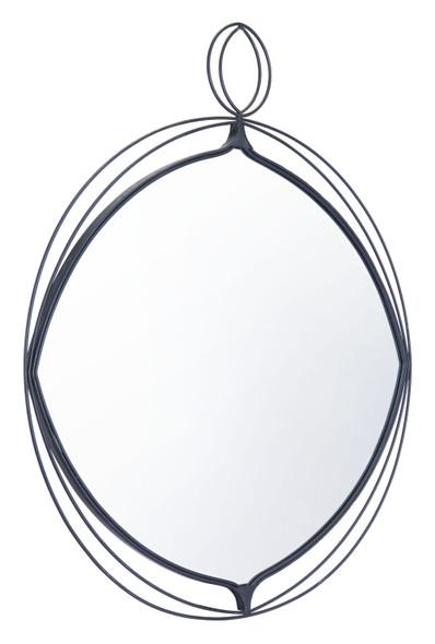 """29.9"""" x 1"""" x 35.4"""" Black, Steel, Mirror amp; MDF, Round Mirror"""