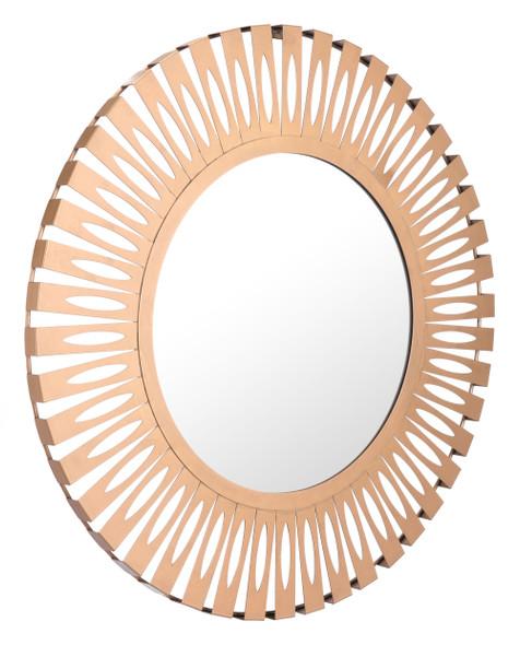 """27.4"""" x 1.2"""" x 27.4"""" Gold, Steel, Mirror amp; MDF, Round Mirror"""