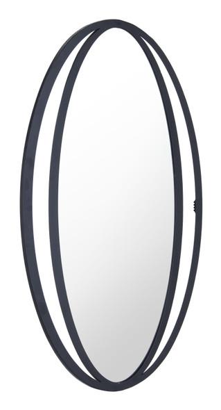 "20.5"" x 0.6"" x 31.3"" Black, Steel amp; Mirror, Oval Mirror"