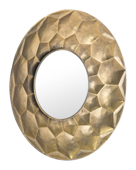 """14.6"""" x 2.4"""" x 14.6"""" Gold, Steel amp; Mirror, Round Mirror Gold"""