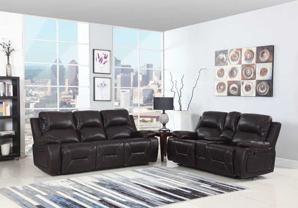 89'' X 40'' X 40'' Modern Brown Leather Sofa And Loveseat