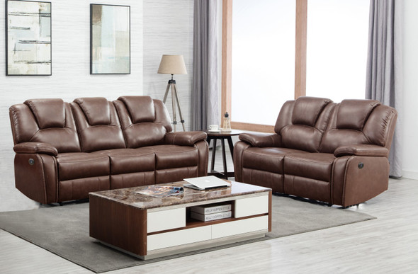 62'' X 38'' X 40'' Modern Brown Leather Sofa And Loveseat