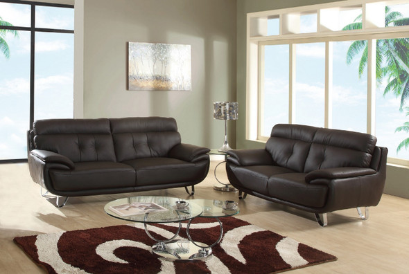 69'' X 38'' X 48'' Modern Brown Leather Sofa And Loveseat