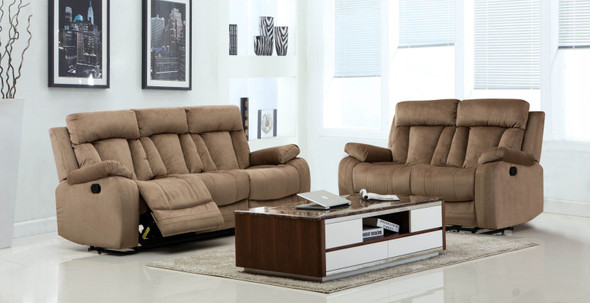 63'' X 38'' X 40'' Modern Beige Leather Sofa And Loveseat