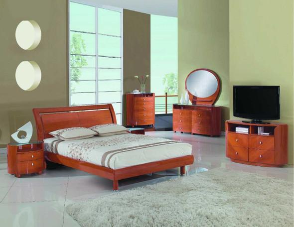 86'' X 91'' X 41'' 4pc Eastern King Modern Cherry High Gloss Bedroom Set