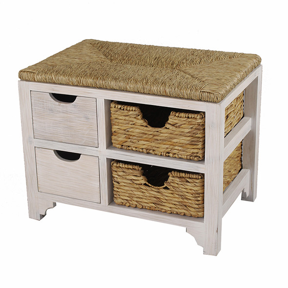 """20"""" White Wood Bench with 2 Drawers, 2 Hyacinth Baskets, and a Seagrass Top"""