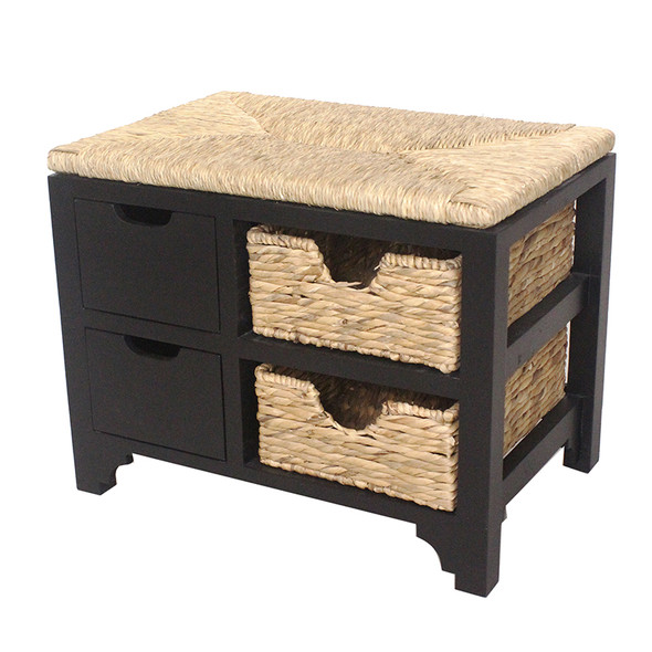 """20"""" Black Wood Bench with 2 Drawers, 2 Hyacinth Baskets, and a Seagrass Top"""
