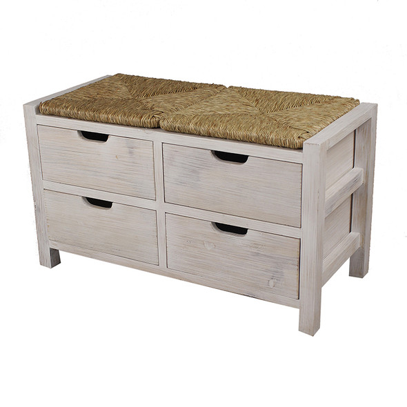 """20"""" White Wash Wood Bench with 4 Drawers and a Seagrass Top"""