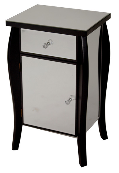 "30.45"" Black Wood Tall Accent Cabinet with a Mirrored Glass Drawer and Door"