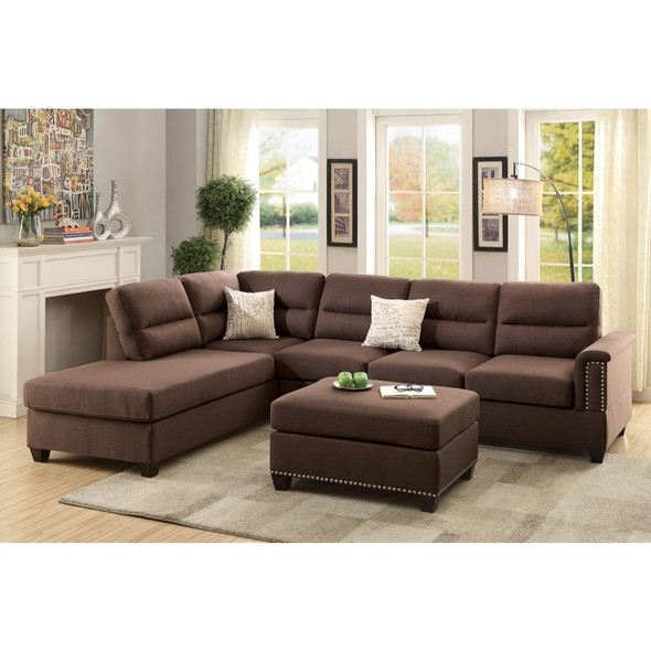 Polyfiber 3 Pieces Sectional Set In Choco Brown - 316528