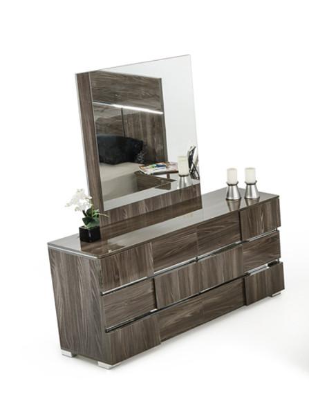 "32"" Grey Lacquer MDF, Steel, and Veneer Dresser"
