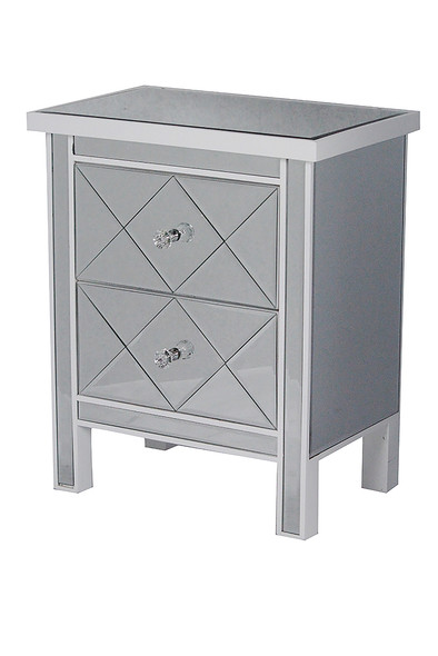 "25.75"" White Wood Accent Cabinet with 2 Beveled Glass Drawers"