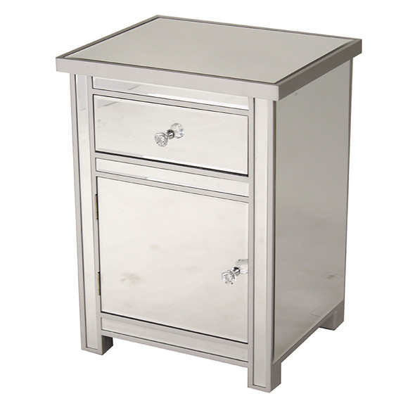 "25.2"" Silver Wood Accent Cabinet with a Mirrored Glass Drawer and Door"