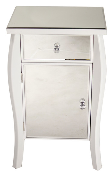 "30.45"" White Wood Tall Accent Cabinet with a Mirrored Glass Drawer and Door"