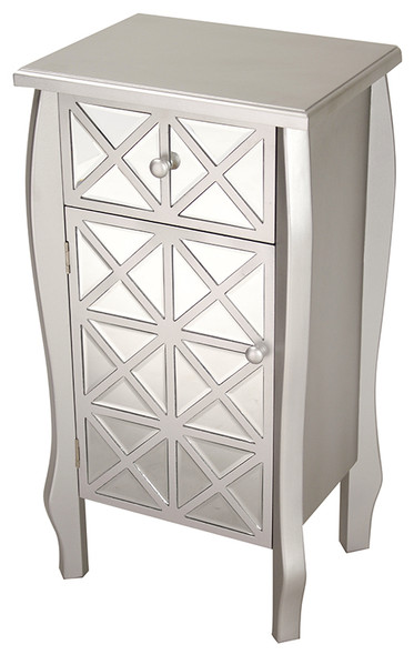 "32.7"" Silver Wood Accent Cabinet with Smoked Mirrored Drawer and Door"