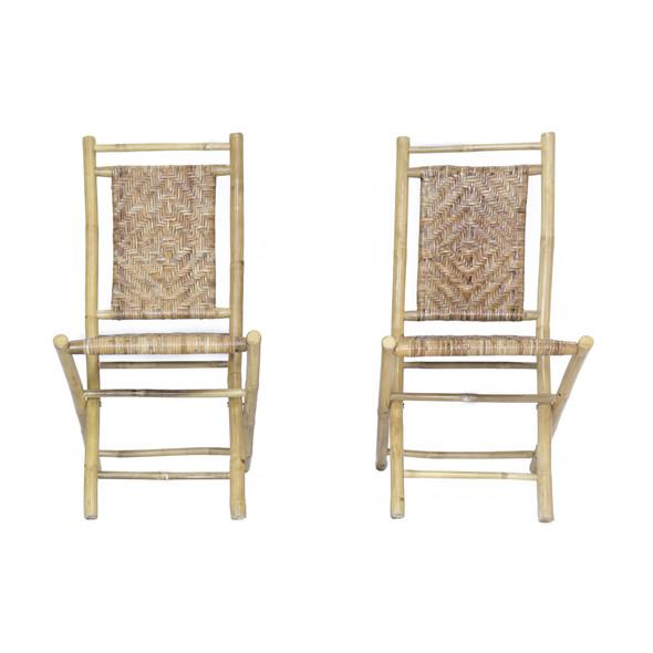 "Two 36"" Grey Bamboo Folding Chairs with Rattan Skin Diamond Weave"